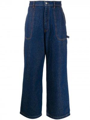 Широкие джинсы с нашивкой-логотипом Kenzo. Цвет: синий