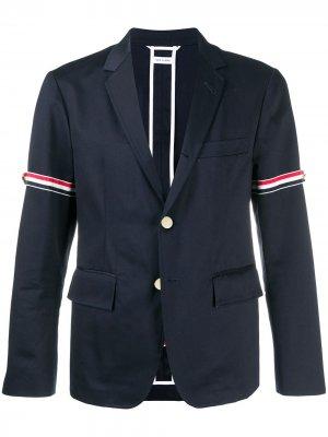 Деконструированный пиджак с декоративными ремешками Thom Browne. Цвет: синий
