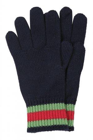 Черные перчатки с цветной отделкой Gucci Kids. Цвет: синий