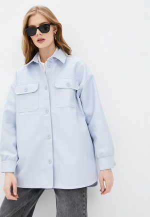 Куртка кожаная Befree. Цвет: голубой