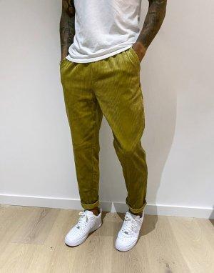 Узкие вельветовые брюки на шнурке оливково-зеленого цвета -Зеленый ASOS DESIGN