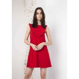 Платье короткое прямое однотонное, без рукавов COMPANIA FANTASTICA. Цвет: красный
