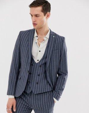 Синий супероблегающий пиджак в полоску Twisted Tailor