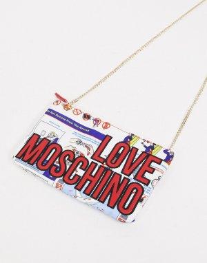 Сумка-кошелек с цепочкой и логотипом принтом открытки -Многоцветный Love Moschino