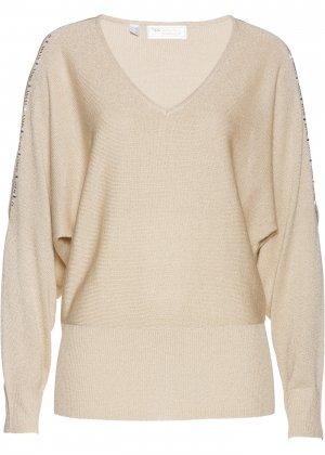 Пуловер с вырезами bonprix. Цвет: серый