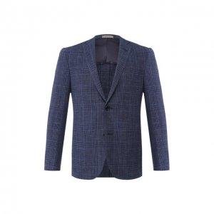 Пиджак из смеси шерсти и шелка Corneliani. Цвет: синий