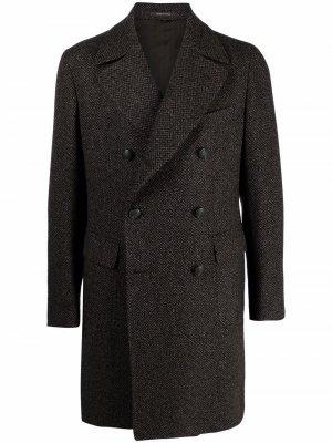 Двубортный шерстяной пиджак Tagliatore. Цвет: коричневый