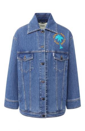 Джинсовая куртка с декоративной отделкой Fendi. Цвет: синий