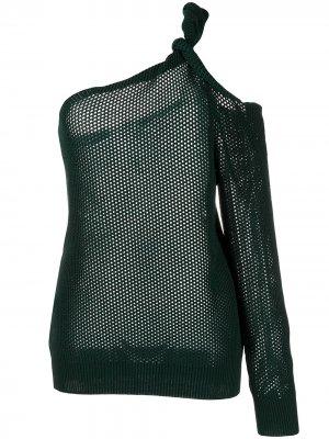 Сетчатый джемпер на одно плечо Givenchy. Цвет: зеленый