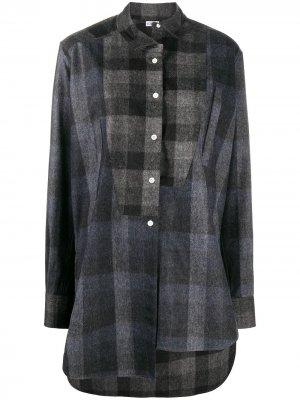 Клетчатая рубашка оверсайз асимметричного кроя LOEWE. Цвет: черный