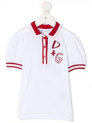 Рубашка поло с вышитым логотипом Dolce & Gabbana Kids. Цвет: белый