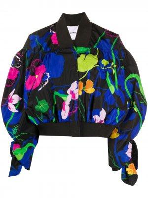 Куртка-бомбер оверсайз с цветочным принтом Ainea. Цвет: черный