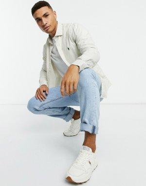 Кремовая рубашка узкого кроя с воротником и логотипом из окрашенной ткани чинос player-Кремовый Polo Ralph Lauren