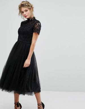 Черное платье миди с кружевом, высоким воротом и юбкой из тюля -Черный Chi London