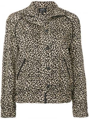 Куртка с леопардовым принтом A.P.C.. Цвет: черный