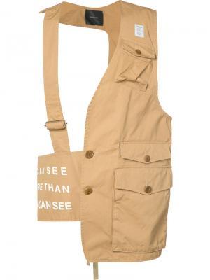 Стилизованная жилетка с накладными карманами Undercover. Цвет: телесный