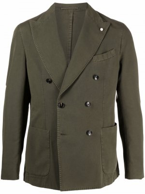 Двубортный пиджак LUIGI BIANCHI MANTOVA. Цвет: зеленый