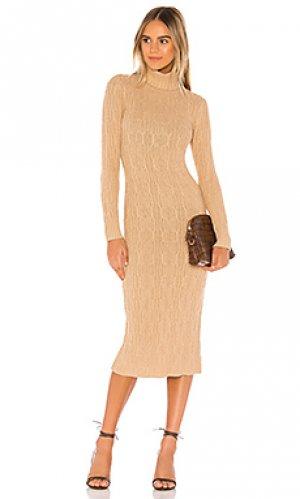 Вязаное платье 525. Цвет: цвет загара