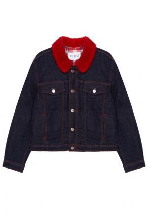 Джинсовая куртка с красным воротником Claudie Pierlot. Цвет: синий