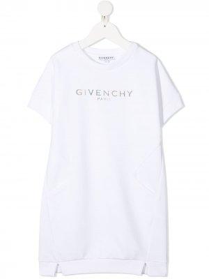 Платье-футболка с логотипом Givenchy Kids. Цвет: белый