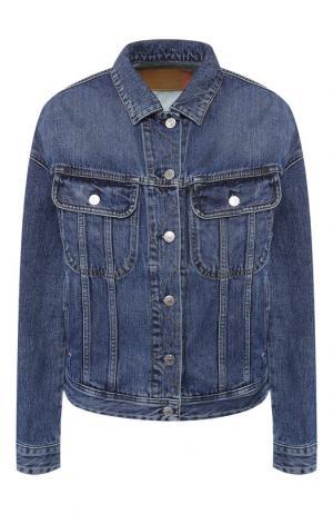 Джинсовая куртка свободного кроя с потертостями Acne Studios. Цвет: синий