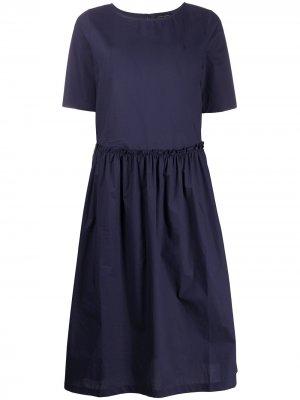Платье с короткими рукавами и оборками Roberto Collina. Цвет: синий