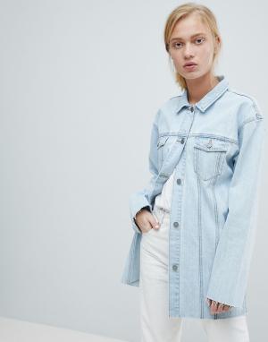 Удлиненная джинсовая куртка с необработанными краями Dr Denim. Цвет: синий
