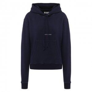 Хлопковый пуловер с капюшоном Saint Laurent. Цвет: фиолетовый