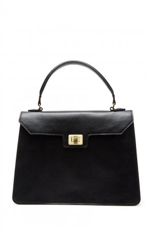 Черная кожаная сумка трапеция LAROOM. Цвет: черный