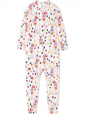 Пижама с логотипом Mini Rodini. Цвет: белый