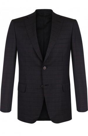 Однобортный пиджак из смеси шерсти и шелка Brioni. Цвет: темно-синий