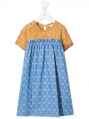 Платье с принтом и монограммой Alviero Martini Kids. Цвет: синий