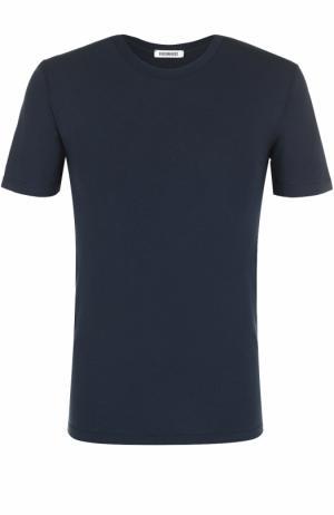 Хлопковая футболка с круглым вырезом Dirk Bikkembergs. Цвет: синий