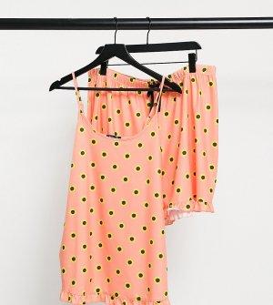 Пижамный комплект персикового цвета с цветочным принтом из майки и шортов оборками Maternity-Оранжевый цвет Loungeable