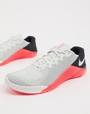 Разноцветные кроссовки Nike Metcon 5-Белый Training