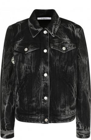 Джинсовая куртка с потертостями Givenchy. Цвет: черный