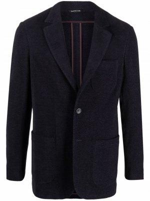 Однобортный вельветовый пиджак Tonello. Цвет: синий
