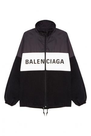 Черная ветровка с логотипом Balenciaga. Цвет: черный