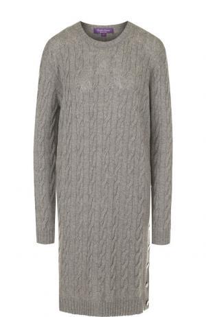 Вязаное кашемировое платье с круглым вырезом Ralph Lauren. Цвет: серый