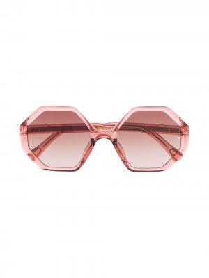 Солнцезащитные очки Willow в шестиугольной оправе Chloé Kids. Цвет: коричневый