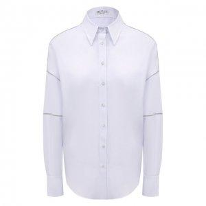 Рубашка из хлопка и шелка Brunello Cucinelli. Цвет: голубой