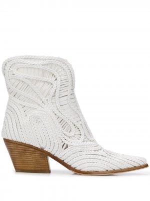Плетеные ботильоны Charlize Le Silla. Цвет: белый