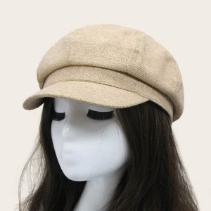 Твердый Бейкер Мальчик Hat SHEIN. Цвет: бежевые