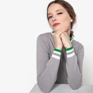 Пуловер с круглым вырезом из ажурного трикотажа LA REDOUTE COLLECTIONS. Цвет: серый
