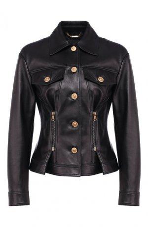 Кожаная куртка Versace. Цвет: черный
