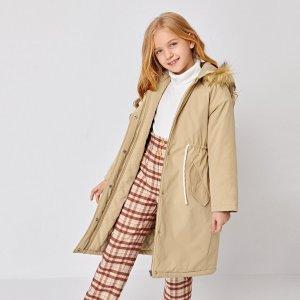 Пальто-парка на кулиске с капюшоном для девочек SHEIN. Цвет: хаки
