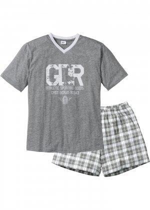 Пижама с шортами bonprix. Цвет: серый