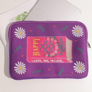 Сумка для ноутбука на молнии с узором SHEIN. Цвет: пурпурный