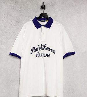 Белая футболка-поло из пике с контрастным воротником и логотипом надписью Big & Tall-Белый Polo Ralph Lauren