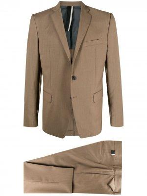 Строгий костюм с однобортным пиджаком Low Brand. Цвет: коричневый